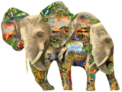 Ele-Phantastic - 1000pc Shaped Jigsaw Puzzle By Sunsout