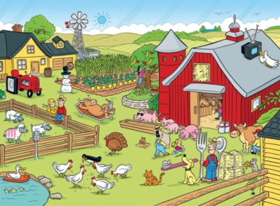 Highlights: On the Farm - 100pc Jigsaw Puzzle in a Barn Box by Ravensburger