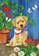Patriotic Puppy - Garden Flag by Toland