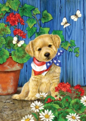 Patriotic Puppy - Standard Flag by Toland