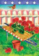 Patriotic Geraniums - Garden Flag by Toland