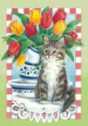 Tulips with Cat - Garden Flag by Toland