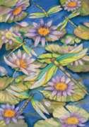 Waterlilies & Dragonflies - Garden Flag by Toland