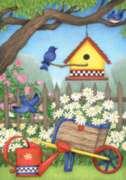 Birdhouse Daisies - Garden Flag by Toland