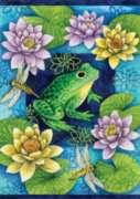 Frog & Waterlilies - Garden Flag by Toland