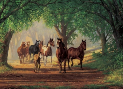 Country Lane Horses - 1000pc Jigsaw Puzzle by Cobble Hill