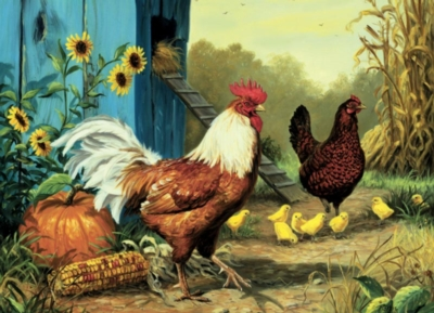 Cobble Hill Jigsaw Puzzles - Country Chickens