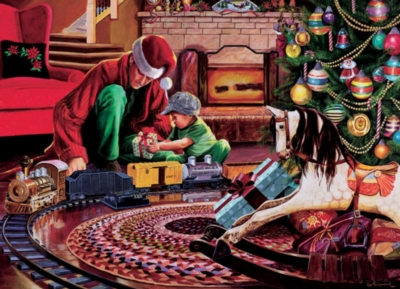 Christmas Tree Train - 1000pc Jigsaw Puzzle by Cobble Hill