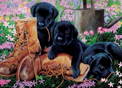 Black Lab Puppies - 35pc Tray Puzzle by Cobble Hill