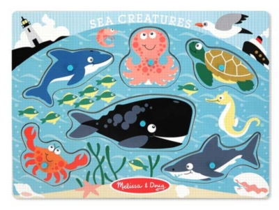 Sea Creatures - 6pc Wooden Peg Puzzle by Melissa & Doug