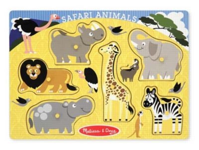 Safari Animals - 6pc Wooden Peg Puzzle by Melissa & Doug