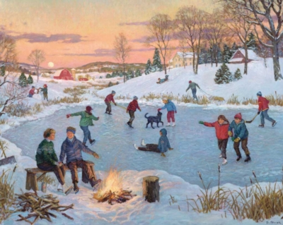 The Olde Skating Pond - 1000pc Jigsaw Puzzle by White Mountain
