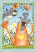 Watering Birds - Garden Flag by Toland