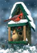 Cardinals in Snow - Garden Flag by Toland