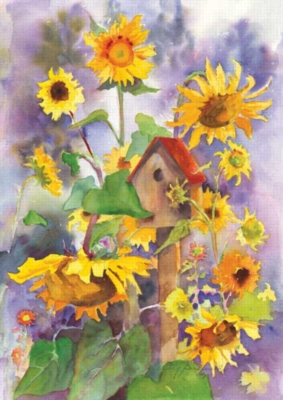 Birdhouse & Sunflowers - Garden Flag by Toland