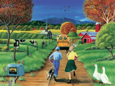 Late for the Bus - 400pc Family Style Jigsaw Puzzle by Cobble Hill