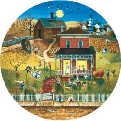 Halloween Night - 500pc Round Jigsaw Puzzle By Sunsout