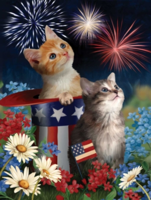 Large Format Jigsaw Puzzles - Patriotic Kittens