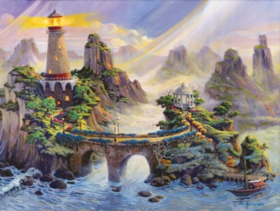 Misty Lighthouse - 500pc Jigsaw Puzzle By Sunsout