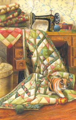 Cat on a Quilt - 1000pc Jigsaw Puzzle By Sunsout