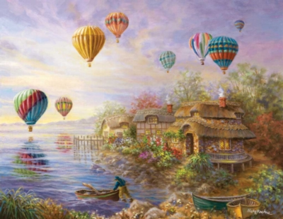 Balloons over Cottageville - 1000pc Large Format Jigsaw Puzzle By Sunsout