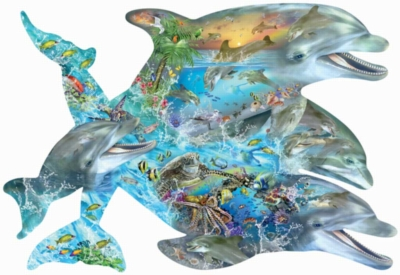 Song of the Dolphin - 1000pc Shaped Jigsaw Puzzle By Sunsout