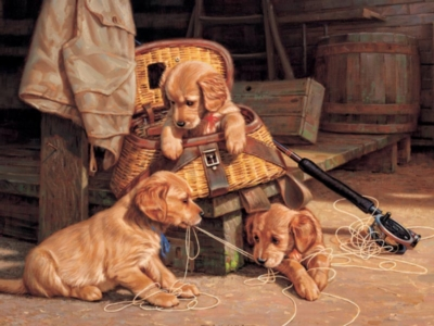 Puppy Mischief - 500pc Jigsaw Puzzle by Cobble Hill