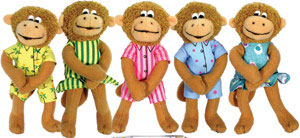 "Five Little Monkeys - 5"" (set of five) Finger Puppets by MerryMakers"