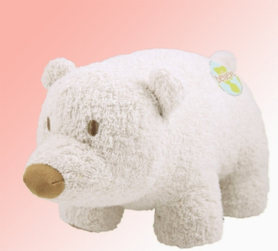 "Organic 8"" Polar Bear (Believe) - Made w/ Organic Terrycloth & All Natural Fill"