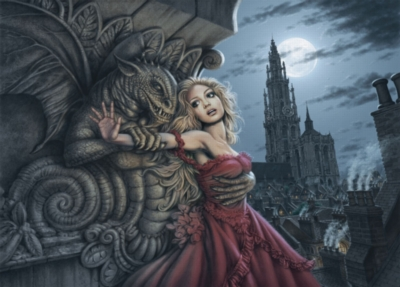 Gargoyles Embrace - 1000pc Jigsaw Puzzle By Holdson