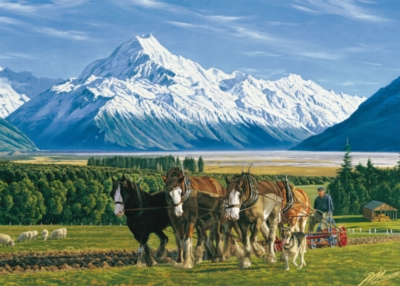 Jigsaw Puzzles - Mt. Cook and Clydesdales Ploughing