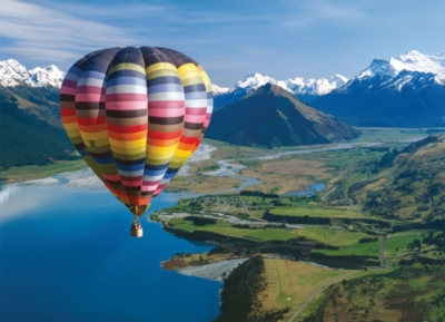 Hot Air Balloon Over Lake Wakatipu - 1000pc Jigsaw Puzzle By Holdson