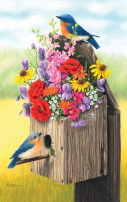 Bouquet for Bluebirds - 550pc Jigsaw Puzzle By Sunsout