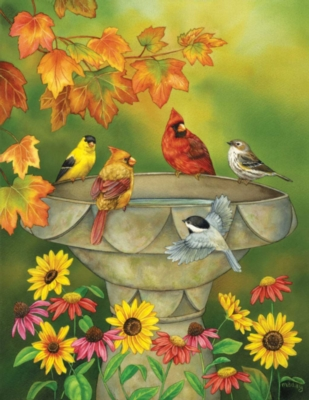 Autumn Birdbath - 1000+pc Large Format Jigsaw Puzzle By Sunsout