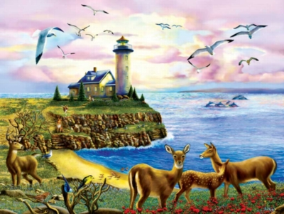 Lighthouse Visitors - 500pc Jigsaw Puzzle By Sunsout