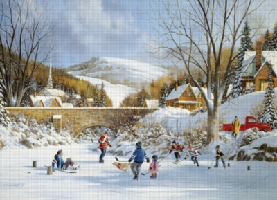 Cobble Hill Jigsaw Puzzles - Hockey on Frozen Lake