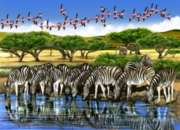 Zebras and Flamingoes - 500pc Jigsaw Puzzle By Cobble Hill