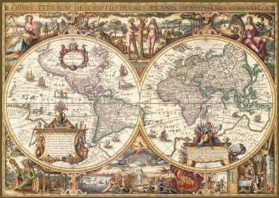 Antique World Map - 1000pc Textured Jigsaw Puzzle By Ravensburger