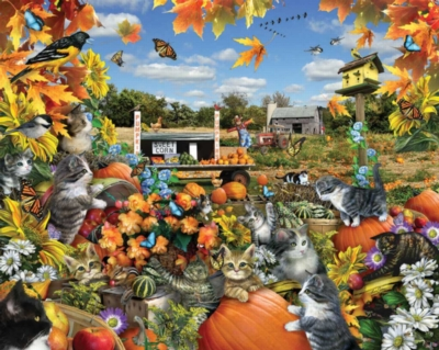 Autumn Kitties - 550pc Jigsaw Puzzle By White Mountain