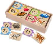 Letter Puzzles - 26 x 2pc Wooden Puzzle Cards By Melissa & Doug
