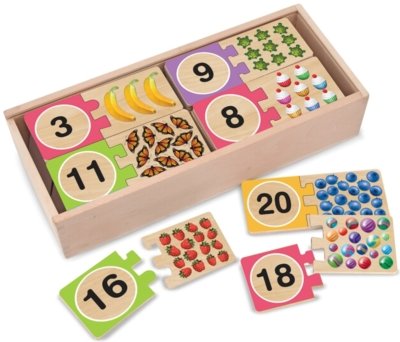 Number Puzzles - 20 x 2pc Wooden Puzzle Cards By Melissa & Doug