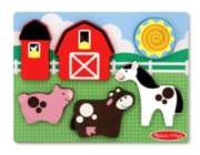 Barnyard Fun - 6pc Chunky Wood Puzzle Scene By Melissa & Doug