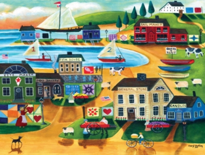Olde Tyme Sailing Village - 300pc Large Format Jigsaw Puzzle by Masterpieces