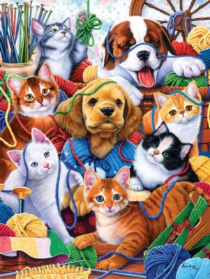Playing in the Yarn - 300pc Large Format Jigsaw Puzzle by Masterpieces