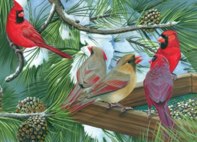 Cardinal Gathering - 1000pc Jigsaw Puzzle By Jack Pine