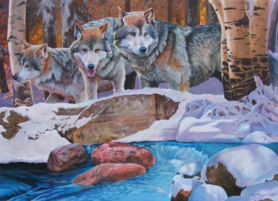 Winter Wolves - 1000pc Jigsaw Puzzle By Jack Pine