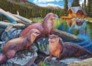 River Otter Family - 1000pc Jigsaw Puzzle By Jack Pine