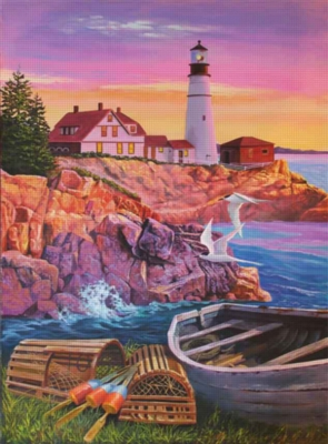Lighthouse Cove - 1000pc Jigsaw Puzzle By Jack Pine