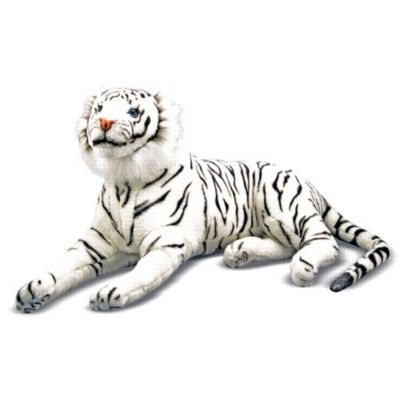 "White Tiger - 66"" Head to Tail, Laying Plush Tiger by Melissa & Doug"