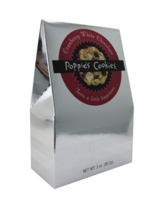 Poppie's Cookies - 3oz Silver Box - Cranberry White Chocolate
